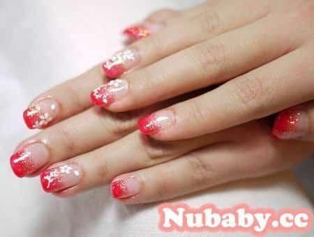 美甲教學-新年款紅色璀璨凝膠指甲