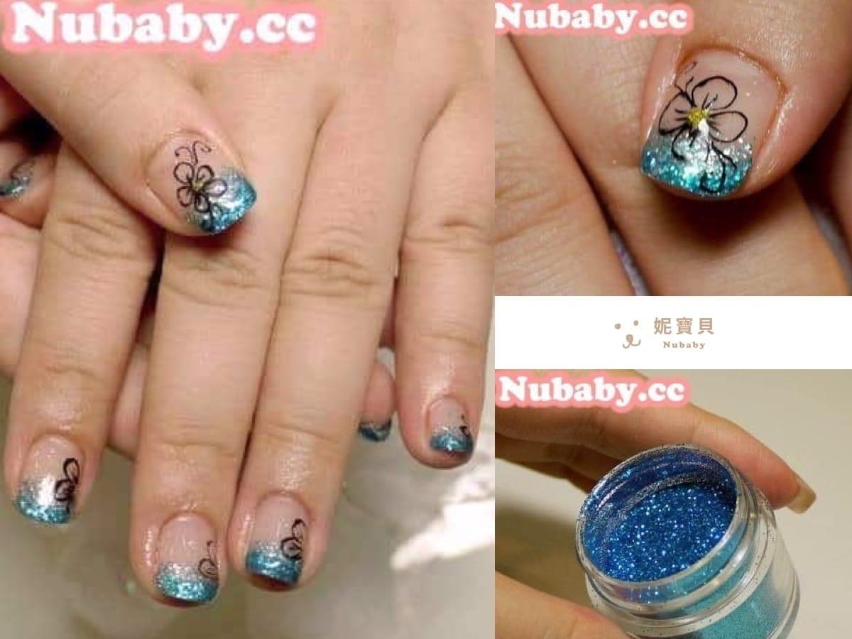 彩繪教學-土耳其藍璀璨凝膠指甲