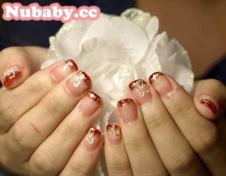 彩繪教學-聖誕紅格紋矯正型凝膠指甲