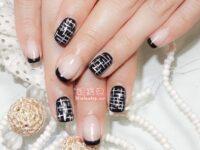 黑色法式指甲-璀璨凝膠美甲作品