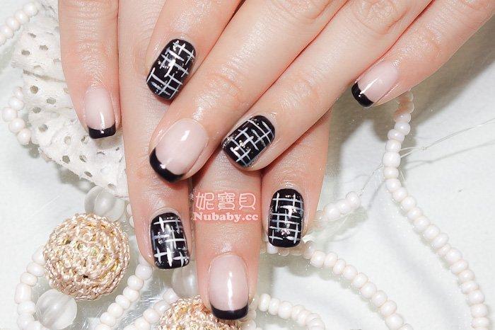 黑色法式璀璨凝膠指甲教學-美甲作品