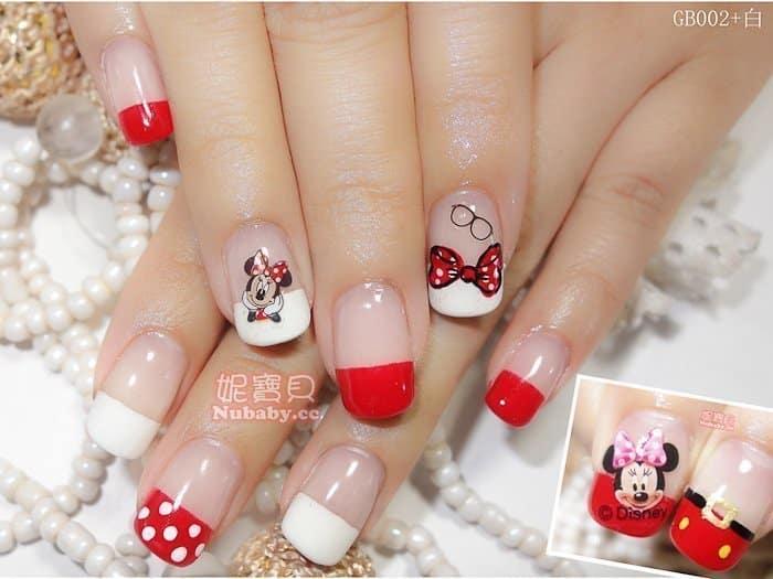 手繪凝膠指甲 創意手繪風璀璨凝膠指甲-美甲作品 迪士尼