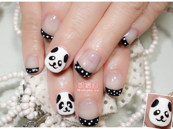 手繪凝膠指甲 創意手繪風璀璨凝膠指甲-美甲作品 熊貓