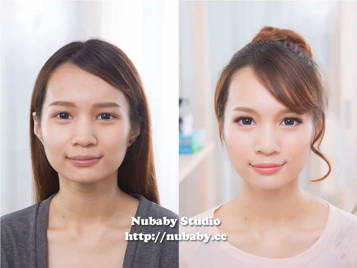 粉紅日系丸子頭妝髮-雅雅的素人大變身