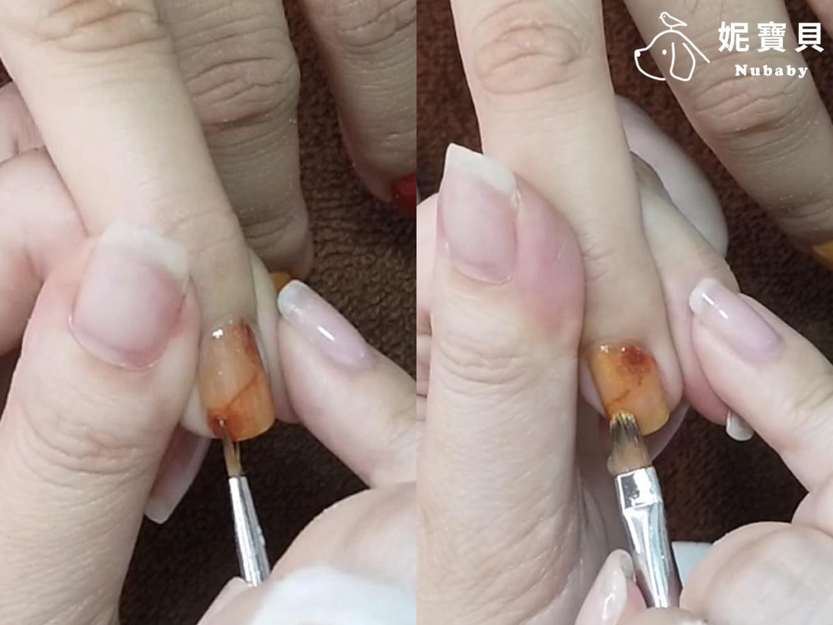 琥珀暈染 色塊的延展-璀燦凝膠指甲教學