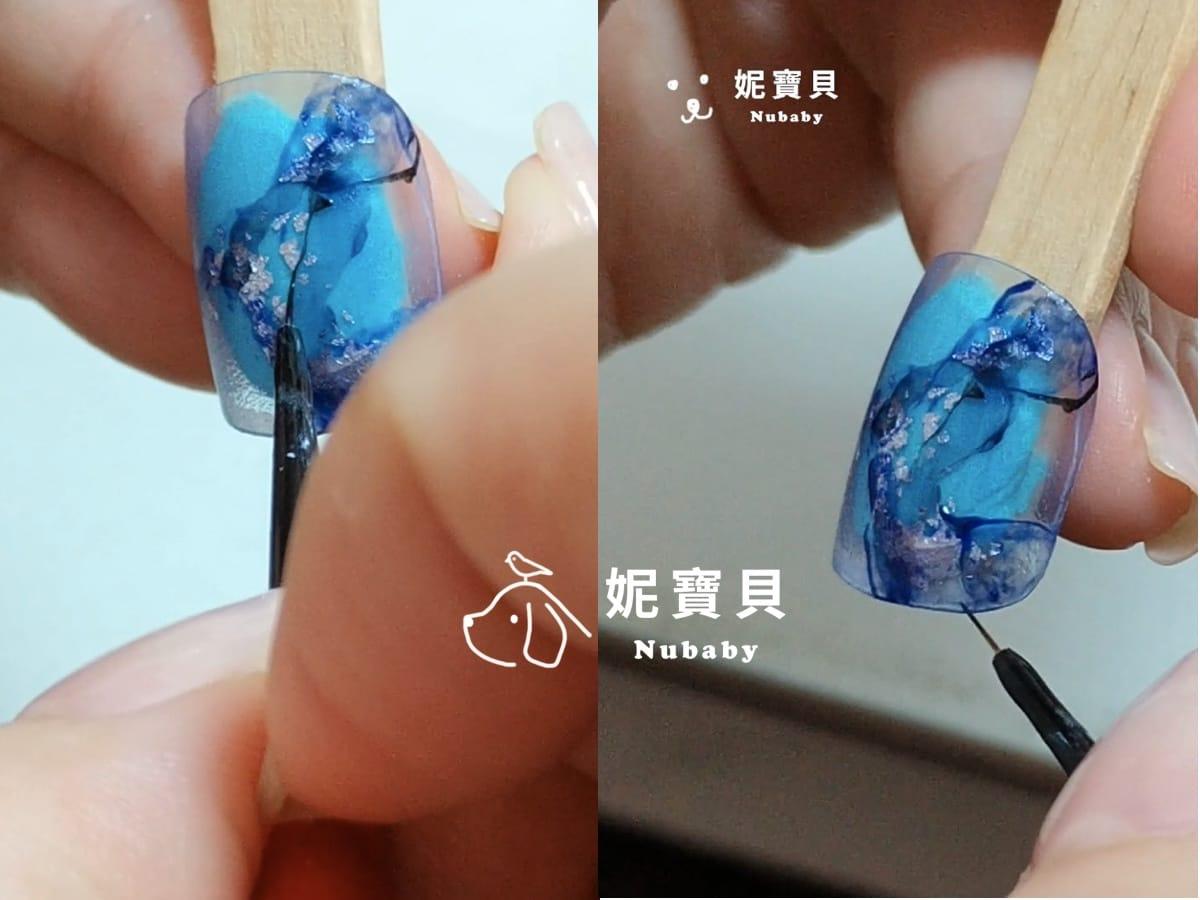 石紋美甲 勾勒細線 手繪紋路 藝術凝膠指甲教學