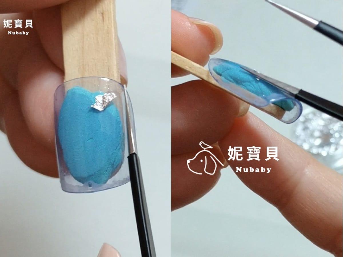 貼上銀箔 石紋教學 手繪紋路 藝術凝膠指甲教學